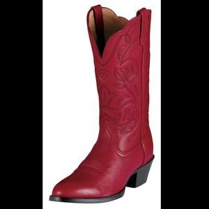 Ariat Red Leather Round Toe Cowgirl Boots